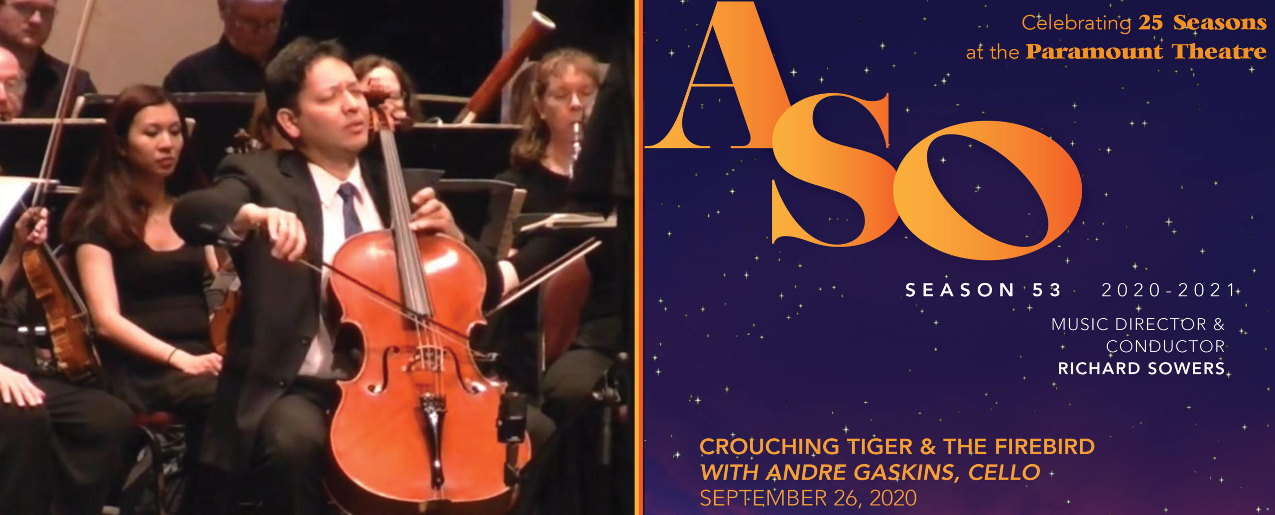 crouching tiger, ASO, symphony, cello, andre gaskins