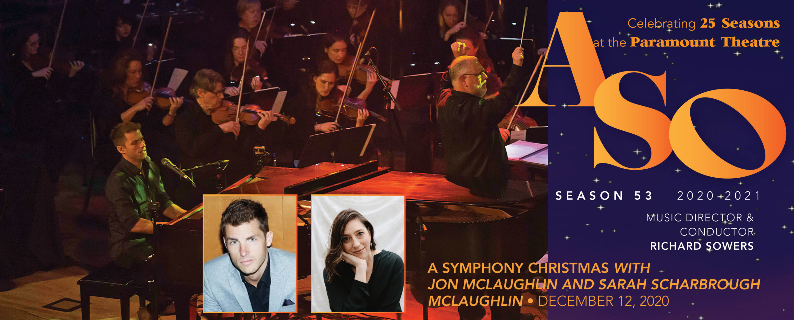 Jon mclaughlin, sarah scharbrough, a symphony christmas, aso